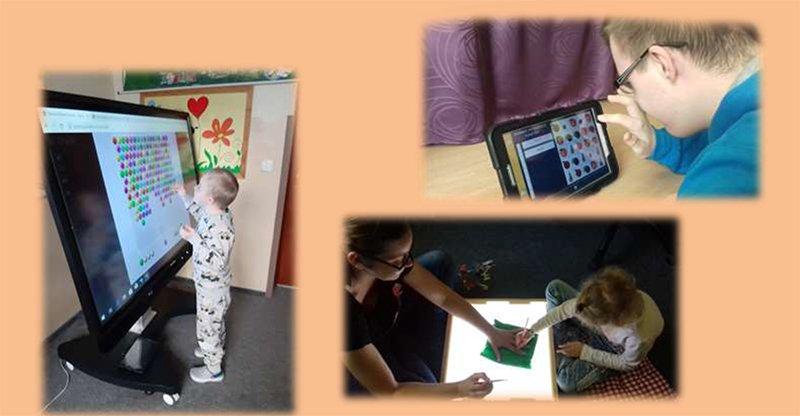 na zdjęciu dziecko biorące udział w interaktywnej rehabilitacji