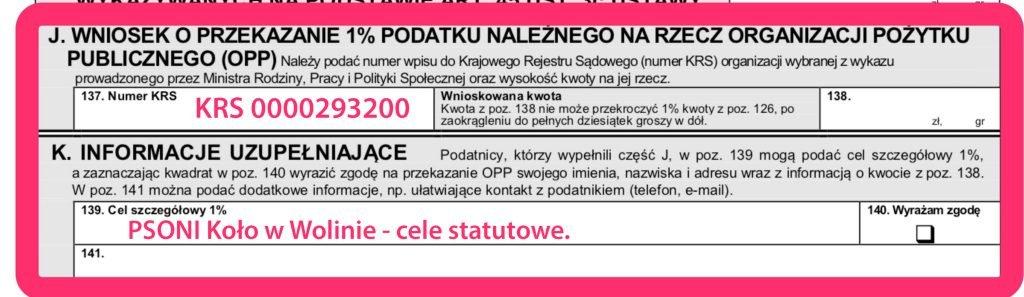 Wypełniony pit zeznania podatkowego - KRS 00000293200 - Cel szczegółowy 1% PSONI Koło w Wolinie - cele statutowe