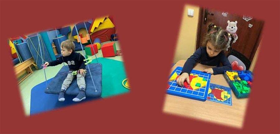 dzieci w trakcie rehabilitacji i zajęć terapeutycznych