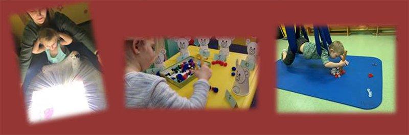 na zdjęciu pokazane są dzieci w trakcie rehabilitacji światłem, fizjoterapii